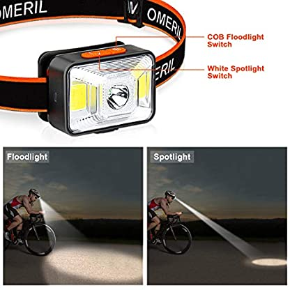 OMERIL LED Head Torch, USB Rechargeable Headlamp with Super Bright 200 Lumens,5 Lighting Modes,White&Red Light,IPX5 Waterproof Headlight for Kids Adults,Running,Dog Walking,Cycling,Camping,Fishing 3