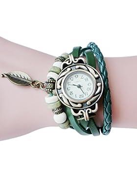 AMUSTER.DAN Damen Frauen Armbanduhr Frauen Kinder Retro Leder Armband Blatt Anhänger Uhr (Grün)