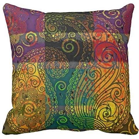 paisley color block throw pillowcase Pillow shams case Cushion Cover 18*18