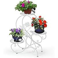 HLC 3 Töpf Metall Blumenständer Blumentreppe Pflanzer,S-förmig Weiß