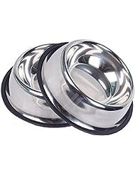 Oniel - Comedero para Animales Alto - 32 Oz - Acero Inoxidable - Set de 2 - 25 cm