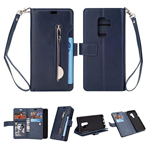 Yobby Reißverschluss Brieftasche Hülle für Samsung Galaxy S9, Samsung Galaxy S9 Handyhülle,Slim Luxus Leder Flip Case [9 Kartefach] Magnetisch mit Stand und Handschlaufe Schutzhülle-Blau -