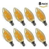 Vintage 4W E14 LED Filament Kerzenbirne Glühfaden Fadenlampe Leuchtmittel Edison Lampe mit Retro Glas Lampenschirm, 2400K Warmweiß ersetzt 40W Glühlampe, 8er Pack von Enuotek