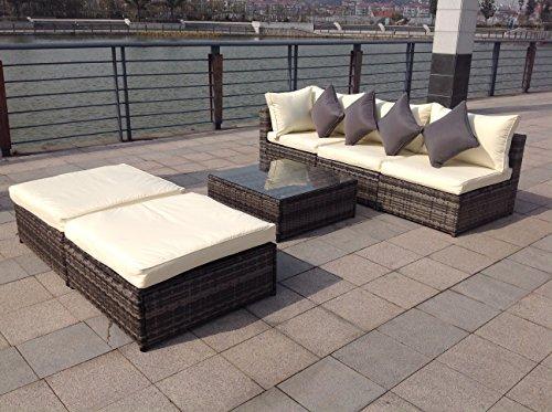 Nuovo set di mobili da giardino in rattan intrecciato for Set mobili da giardino