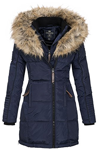 Geographical Norway Damen Jacke Winterparka Belissima XL-Fellkapuze navy M