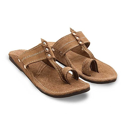 RYAG Men Kolhapuri Design Leather Ethnic Mojari Slipper UK 10 (Brown)