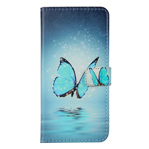 iPhone 6S plus Wallet Case Cover - Felfy Ultra Slim Cuir Coque Pour Apple iPhone 6/6S plus 5.5 Zoll Flip Forever and Always Motif PU Étui Portefeuille Housse Etui Holster + 1x Blue Touch Stylus + 1x B Bleu Papillon
