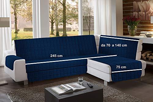 La biancheria di casa simplicity plus angle copri salva divano per divani ad angolo (245 cm, blue navy)