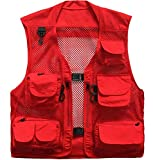 Memoryee Uomo Multi-Tasche Leggero da Viaggio all'aperto Pesca Maglia Giubbotti Traspirante/Rosso/L