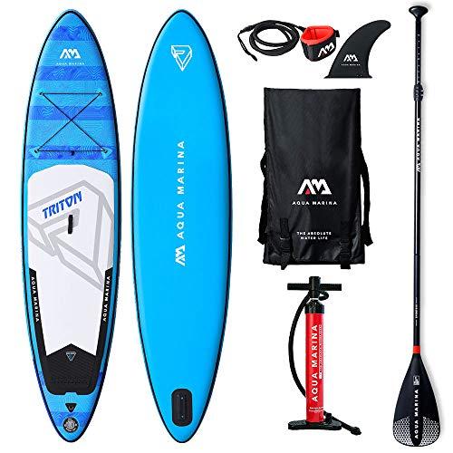 Aqua Marina Unisex-Adult BT-19TRP Triton Stand Up Paddle Board 11.2 aufblasbar iSUP im Set, 340 x 81 x 15 cm, Blau/Weiß