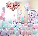 Sunshine smile Herz Luftballons Pastell,Bunte Luftballons,Helium Luftballons,Latex Luftballons,Farbige Ballons,Partyballon,Dekorative Ballons für Hochzeit Weihnachten(50-Pack)