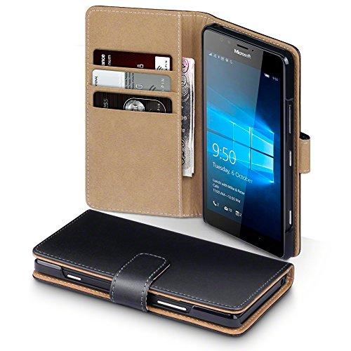 Microsoft Lumia 950 Case, Terrapin Handy Leder Brieftasche Case Hülle mit Kartenfächer für Microsoft Lumia 950 Hülle Schwarz mit Hellbraun Interior