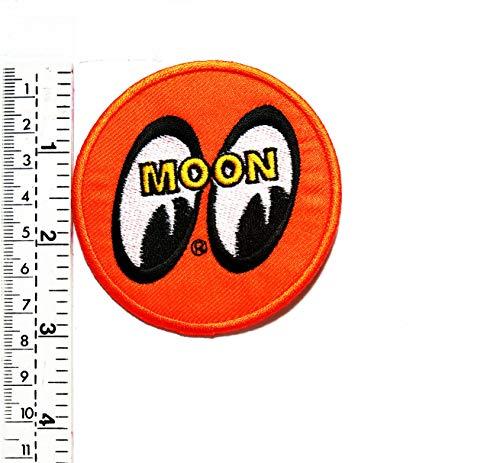 Orange Funny Smiley Eyes Mond Patch Hippie Retro Cartoon Kinder Kinder Studenten Patch Weste/Jacke Biker Biker Biker Tattoo Jacke T-Shirt Aufnäher Aufbügler Aufbügler