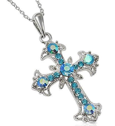 Aqua Blau und ab Kristalle 1–1/10,2cm filigranen Kreuz Anhänger und Halskette für Mädchen, Jugendliche und Frauen (Phat Baby-mädchen Baby)