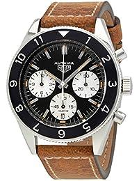 Uhr Tag Heuer Autavia cbe2110.fc8226 Schalter Stahl Quandrante schwarz Armband Leder