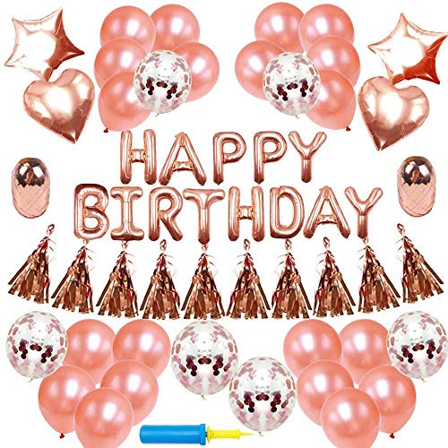 Jekind Happy Birthday Party Banner Dekorationen Zubehör, Rose Gold Party Banner Xenon Folienballons Rose Gold Konfetti Ballons Happy Birthday Balloon Banner Stern Ballons Liebe Ballons Quasten (Für Party Name Banner Geburtstag)