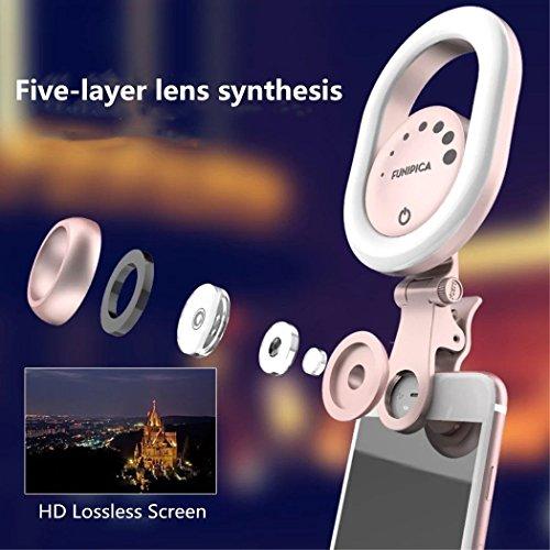 36 LED Selfie Licht Ring+0.6X Weitwinkelobjektiv+15X Super Makroobjektiv, Bbtops Universal Selfie Ring Licht mit Stufenlos Helligkeit mit 3-Modus Einstellbar für iPhone X 8 8Plus 7Plus, Samsung Galaxy