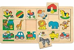 Woodyland Haz Juego de Aprendizaje del Juego de lotería Animales Puzzle Fotos Madera Juguetes de Madera KINDERLAND