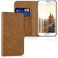 kalibri Leder Hülle James für Samsung Galaxy S5/S5 Neo/S5 Duos - Echtleder Schutzhülle Wallet Case Style mit Karten-Fächern in Cognac