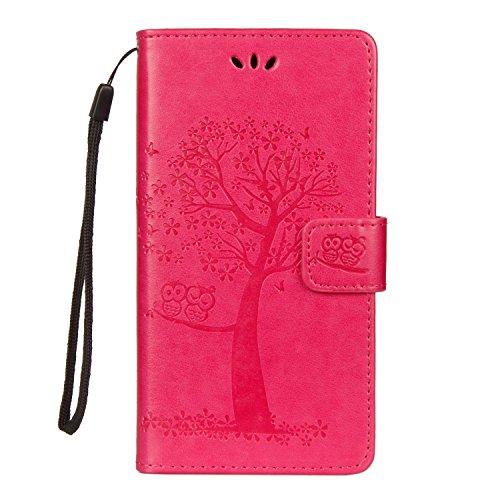iVOYI Sony Xperia XZ3 Hülle Sony XZ3 Handytasche Eule Baum Muster Leder Tasche Handyhülle Magnetverschluss Brieftasche Flip Cover mit Standfunktion für Sony Xperia XZ3 und Ein Stylus Stift, Rosa