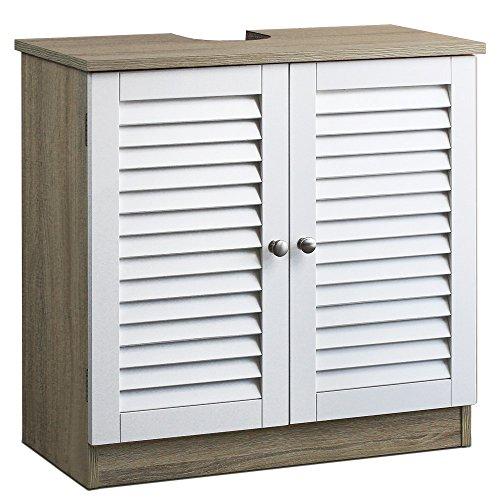 Deuba Mueble bajo Lavabo marrón y Blanco 2 Puertas con Listones Armario de baño Almacenamiento Toallas...