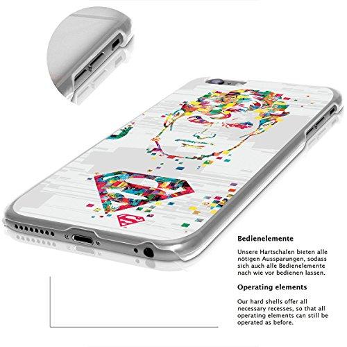 finoo | iPhone 8 Handy-Tasche Schutzhülle | ultra leichte transparente Handyhülle in harter Ausführung | kratzfeste stylische Hard Schale mit Motiv Cover Case |Batman face pixel Superman face pixel