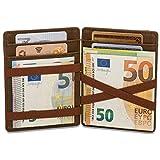 Magic Wallet mit Münzfach - 8 Kartenfächer RFID Schutz - Ideal als Geschenk für Herren - Magischer Geldbeutel braun mit Geschenkbox - Owl