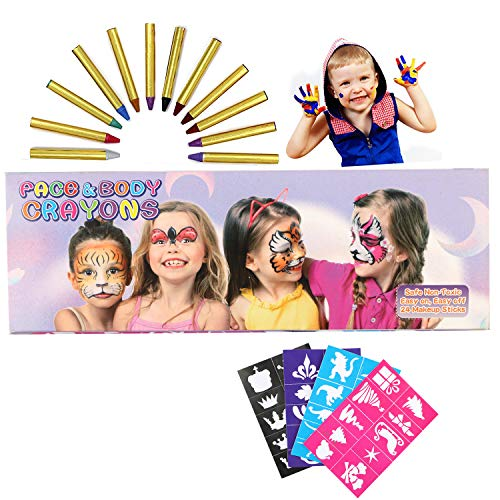 WOSTOO Face Paint, Gesichtsfarben Kinder, 24 Farben Gesicht Malen Buntstifte, Ungiftig Körperbemalung Sticks Körper Tattoo Set Buntstifte Kit für Kinder, Kleinkinder (Halloween Braun Malen Gesicht)