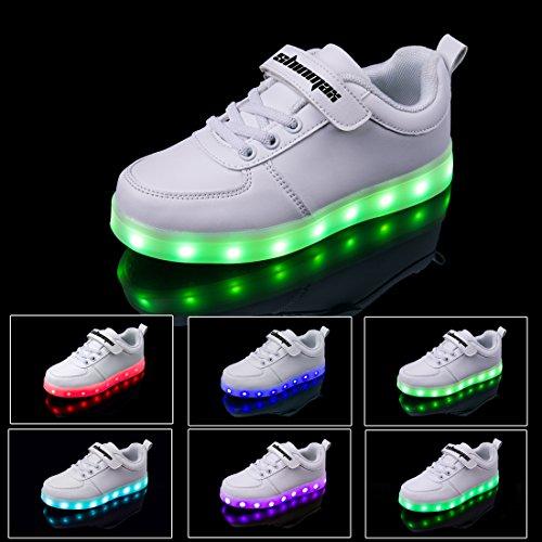 Shinmax Scarpe LED 7 Colori di Ricarica USB Kid Pattini Casuali Lampeggianti Scarpe da Tennis del Ragazzo e Ragazza per Bambini Grazie Giorno di Natale Dando con Certificato CE e PSE Bianco