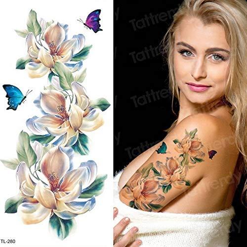 Handaxian 3pcs-Sticker Bikini Tattoo weiblich wasserdicht temporäre Tätowierung Aufkleber blau lila Blume Rose Aufkleber 3pcs-24