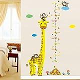 Pared Adhesivo Cinta Métrica jirafa con monos Zoo Diseño para habitación de los Niños 135x 86cm