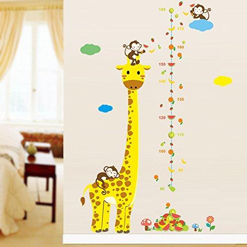 Giraffe mit Affen Zoo Motiv für Kinderzimmer 135 x 86cm ()