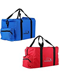 Ultralite Polyster Royal Blue & Red Duffle Bag Combo Pack Of 2 (55 L)