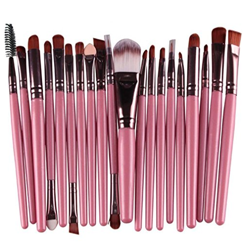 Waschen Kabuki-pinsel (Longra 20 Stück / Set Make up Sets Werkzeuge Make-up Toilettenartikel Ausrüstung Wolle Make up Pinsel Set (Rosa))