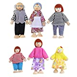 NUOLUX 6pcs marioneta madera juguetes dibujos animados familia muñecos para niños regalo de la casa del juego (Color al azar)