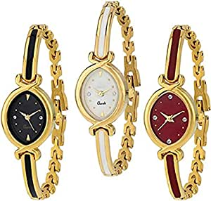Acnos Gold Chain Analog Watches Combo for Women Pack of - 3 (K-10-3COMBO)