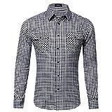 Xmiral Herren Bluse Art und Weise beiläufige Langarmhemd Taschen Lattice Bedruckte T-Shirt (XS,E-Weiß)