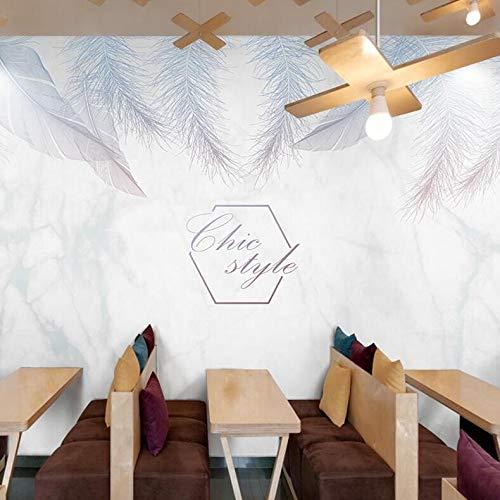 ther Hintergrundbild 3D Marmor Kleidungsstück Nagel Milch Tee Shop Tapete, 400 × 200 cm ()