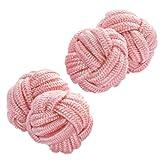 Cuffs & Co Manschettenknöpfe aus Seide, Knotenform, Rosa, rot