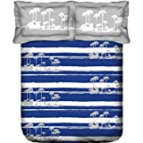 Trident Designer Solid,Traditional, Floral 100% Cotton Double Bed Sheet With 2 Pillow Covers- Blue,White & Grey