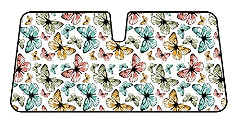 Accordion Style Double Bubble Front Windshield Sunshade - Multicolor Butterflies by BDK