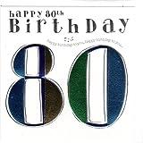 Wendy Jones-Blackett Fresco Glückwunschkarte für den Herrn zum 80. Geburtstag - veredelt durch Prägung und Folienauflage. Zum runden Geburtstag eine hochwertige und originelle Geburtstagskarte, Glückwunschkarte oder Einladungskarte, auch Geschenkgutschein oder Geldgeschenk. WJ150