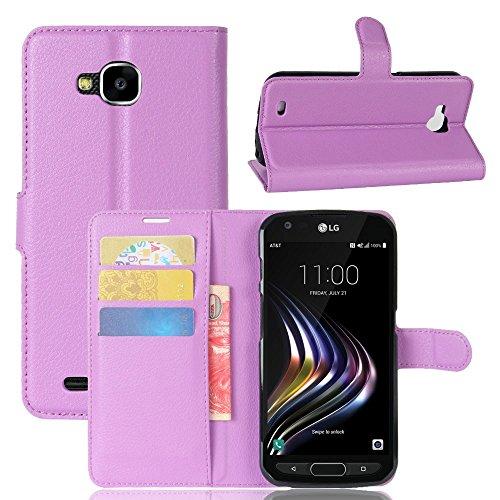Tasche für LG X Venture Hülle, Ycloud PU Kunstleder Ledertasche Flip Cover Wallet Case Handyhülle mit Stand Function Credit Card Slots Bookstyle Purse Design lila