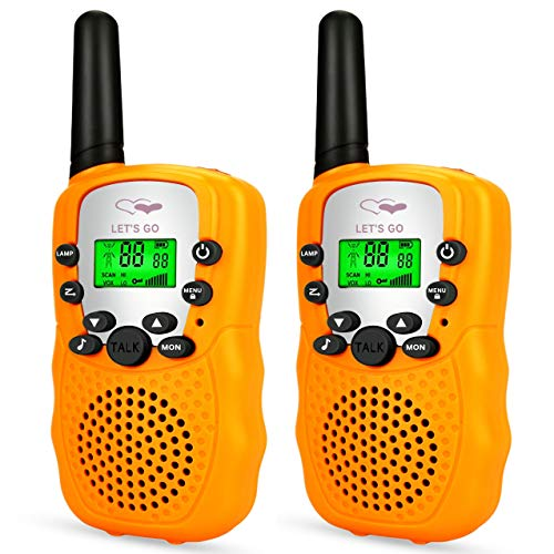 Tisy Toys for 7-8 Year Old Boys, Walkie Talkies for Kids Girl Toys Age 3-12 Gifts for 3-12 Year Old Girls Christmas Birthday Prensents Gifts PMR446MHz 8 Channels Orange TsUKDJT05