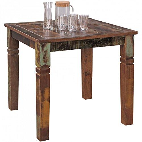 FineBuy Esszimmertisch DELHI 80 x 80 x 76 cm Mango Shabby Chic Massiv-Holz | Design Landhaus Esstisch Bootsholz | Tisch für Esszimmer rechteckig | Küchentisch 4 Personen