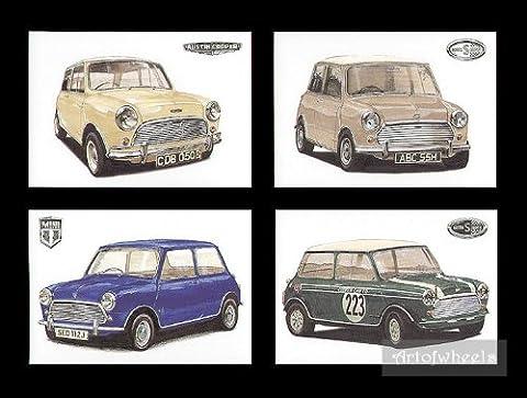 Mini Cooper Art Cartes Postales–MK1997CC S 998CC MK2MK31275s Cooper Voiture Co