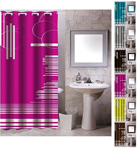 "MSV Anti-Schimmel Textil Duschvorhang - Anti-Bakteriell mit 12 Duschvorhangringen - Polyester, ""Graphics"" Pink, 180x200cm"
