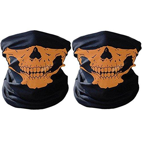SWAMPLAND Multifunktionstuch 2 Stück Winddicht Nahtlos Totenkopf Motorrad Fahrrad Ski Maske Schlauchschal,Orange