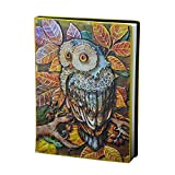 Miji 3D Owl Embossed Leather A5 Notebook, Travel Journal Hardcover Diary Organizer Dariy Writing Notebook Cute Animal Ruled Notebook Great Gift for Men Women Student Notebook (#1)
