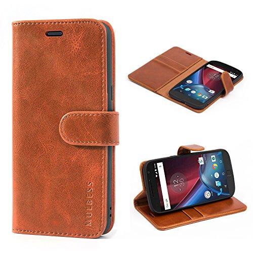 Mulbess Handyhülle für Moto G4 Hülle, Moto G4 Plus Hülle, Leder Flip Case Schutzhülle für Motorola Moto G4 / G4 Plus Tasche, Cognac Braun